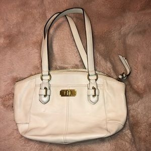 Coach white small satchel leather
